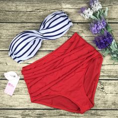 8DESS Sexy High Waist Stripe Bikini Swimsuit Swimwear
