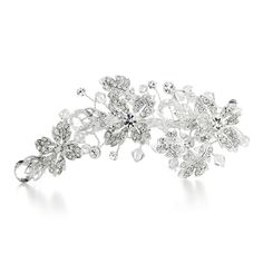 Crystal Bridal Hair Clip with Faceted Tear drops