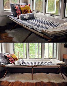 cot as a guest bed/living room fixture Home Interior, Interior Design, Sleeping Porch, Living Spaces, Living Room, Guest Bed, Guest Rooms, Deco Design, Home And Deco