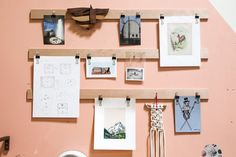 Low-tech changeable gallery wall!  ......... Not related, but I am LOVING this Woodworker's Wonderful Studio in Downtown LA on Apartment Therapy. It's a great (and very practical) space and her woodworking pieces are pretty delightful.
