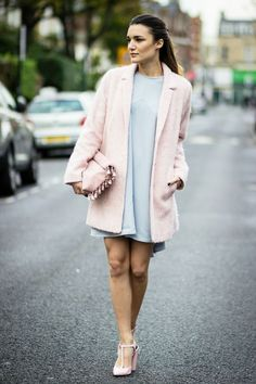 rose quartz coat with serenity dress