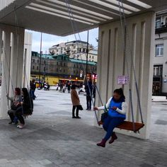 Swings for grown-ups on #mayakovskaya - may very well serve a darker purpose but folks are enjoying them !  #opiumofthepeople #moscow #citylife #Russia #Russian #EasternEurope