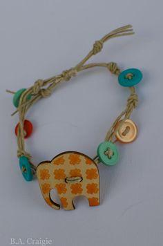 #elephant #hemp #button #bracelet #adjustable