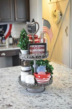 Patriotic tiered stand fourth of july decor, of july decorations, july Fourth Of July Decor, 4th Of July Decorations, 4th Of July Party, July 4th, Galvanized Tiered Tray, Happy Birthday America, Tiered Stand, Tiered Server, July Crafts
