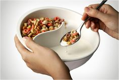 The OBOL bowl.  Best idea ever.  Until now I had to pour my cereal into the milk a little bit at a time so that it wouldn't get soggy.  I will never eat soggy cereal again:)