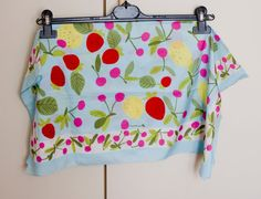 vintage polyester square scarf, polyester foulard, polyester carré, sky blue with fruit pattern, bright colors