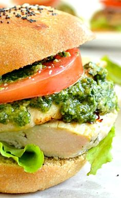Grilled Chicken Pesto Sliders ~ These smoky-grilled sliders are jam-packed with juicy chicken and topped with lots of garden-fresh pesto sauce. —A perfect fun-sized appetizer!