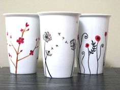 Painted Travel Coffee Mug- Sweet Melodies, Eco-Friendly. $30,00, via Etsy.