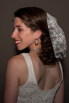 Mini Lace veil, Made of Chantilly lace. This Yaneth and Co bride wore it in the back, but you can wear it in the front as a birdcage style veil. www.yanethandco.etsy.com