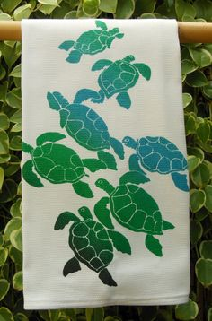 Honu Ohana Green Sea Turtle Family Hawaiian by HibiscusTextiles, $14.00