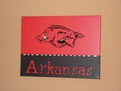 Arkansas Razorback canvas painting
