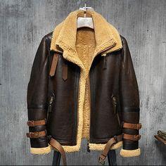 1b492547af Men s Shearling Aviator Flight Jacket Imported Wool From Australia Mens  Shearling Coat