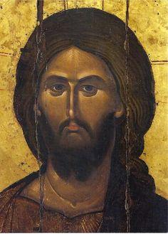 Orthodox icon of our Lord Jesus Christ Pantokrator Icon of 13 cent. Monastery of Vatopaidi Mount Athos.