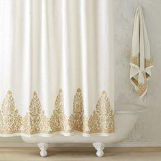 John Robshaw Nadir Pearl Gold Shower CurtainJohn Curtain
