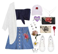 """""""denim & roses"""" by youvegotraye ❤ liked on Polyvore featuring Miss Selfridge, Solid & Striped, Armitage Avenue, Abigail Ahern, Sans Souci and Spy Optic"""