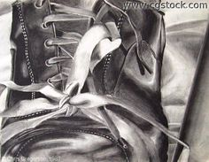 charcoal drawings - shoes