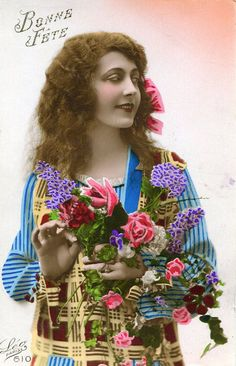 vintage hand tinted postcards | Vintage French hand tinted photo postcard - Flapper art deco lady with ...