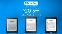 Kindle Basic, Kindle Paperwhite and Kindle Voyage are $20 off http://goodereader.com/blog/electronic-readers/kindle-basic-kindle-paperwhite-and-kindle-voyage-are-20-off