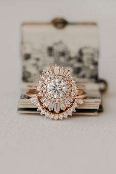 Daisy | 6.5mm Rose Gold | #round #moissanite #weddingset Wedding Wishes, Wedding Sets, Wedding Themes, Wedding Bands, Daisy Wedding, Wedding Rings Vintage, Vintage Diamond, Moissanite, Gold Accents