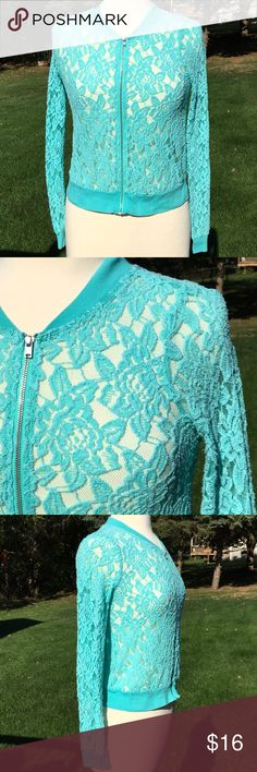 🔴 Ransom Zip Up Lace Sweater Lace Zip Up: Very good condition with no visible signs of wear. Mint green lace zip up sweater. Body: 56% cotton, 38% nylon, 6% rayon. Trim is 100% cotton. Ransom Sweaters
