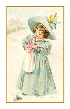 Maud Humphrey Bogart's Young Girl Playing Doll Snow Counted Chart Stitch Chart | eBay