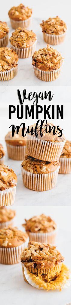 Delicious Vegan Pumpkin Muffins with Dark Chocolate and Walnuts
