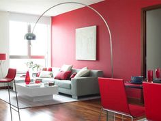 Casa-Dulce-Chacón-001 Red Living Room Decor, Elegant Living Room, Living Room Modern, Bedroom Decor, Flur Design, Hall Design, Living Place, Inside Home, Red Walls