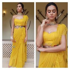 Check out trending bride and bridesmaid inspirations from the latest season of 4 More Shots Please. Bridesmaid outfit ideas and inspirations at ShaadiWish. Pakistani Formal Dresses, Indian Dresses, Indian Outfits, Indian Designer Outfits, Designer Dresses, Designer Sarees, Indian Designers, Sari Blouse Designs, Bridal Blouse Designs
