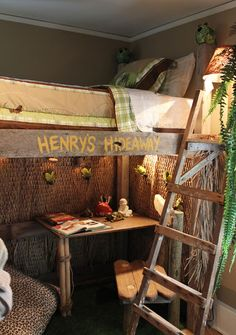Boys room: a grass rug leads the way into a jungle themed room!