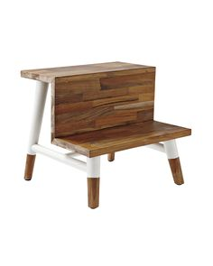 Serena & Lily's Teak Step Stool ... A must for the bath. And not just because it's pretty to look at. Teak is naturally water-resistant, so it stands up to moisture like a champ. Painted legs give the wood's matte finish a modern pop. Wide steps help little feet stay firmly planted.