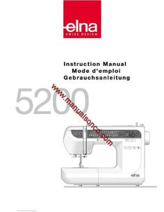 Elna sewing machine instruction manual.  Model: 5200  Included in this manual:  * Machine parts and functions. * Getting ready to sew. * Basic sewing. * Decorative stitches. * Care and maintenance. * Much More!  92 pages of sewing instruction and information.