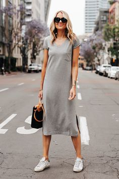 Cuyana Gray V Neck Midi/Maxi Dress on Mercari Dress And Sneakers Outfit, Tshirt Dress Outfit, Grey T Shirt Dress, Summer Dress Outfits, Casual Outfits, Fashion Outfits, Travel Outfits, Jeans Fashion, Sneakers Fashion