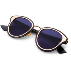 fa422235b36ca Double Frame Flat Lens Sunglasses ❤ liked on Polyvore featuring  accessories