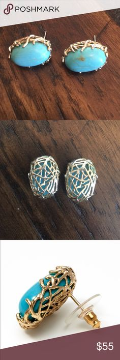 Kendra Scott Janet Stud Earrings Think these are from 2009 or 2010. Janet oval stud turquoise earrings. .8inches long, .6 inches wide. I do not have backs to them... Kendra Scott Jewelry Earrings