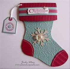 handmade Christmas card ... shaped like a Christmas stocking .... embossing & layers ... Baja Blue and Raspberry ... Stampin' Up!