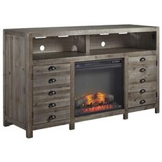 "Ashley Signature Design Keeblen Rustic Gray Brown Pine TV Stand with Electric Fireplace Insert - Dunk & Bright Furniture - TV Stands $764 as of 10/2015 Dimensions are 60""w x 18""d x 35""h"