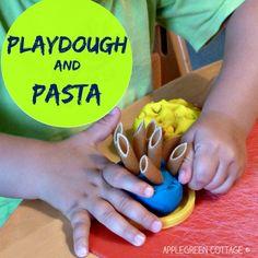 Playdough and pasta. Fun kids activities using playdough.
