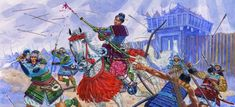 Indomitable: Hangaku Gozen rides into battle swinging her bloodstained naginata and wearing yoroi armor symbolic of leadership during the siege of Torisaka Castle (in present-day Ehime Prefecture, Shikoku) in 1201, after her clan rose up against the powerful Minamoto Shogunate in a (losing) medieval power struggle.