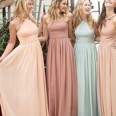 H171 halter chiffon bridesmaid dress, long bridesmaid dresses, cheap bridesmaid dresses, custom bridesmaid dresses, bridesmaid dresses