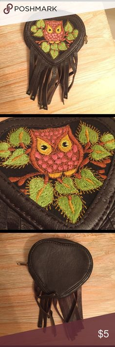 Small owl coin purse Cute little leather coin purse with an owl stitched onto the front. No signs of wear & tear. Ecote Bags Wallets