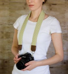 DSLR Camera Strap  Olive Green Polka Dots by ImaniStudio on Etsy
