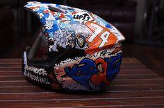 Helmet painted with posca by alisonarts.com.au