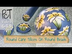 Adding Round Polymer Cane Slices to Round Beads