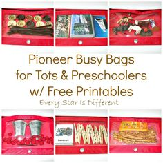 Every Star Is Different: Pioneer Busy Bags for Tots & Preschoolers w/ Free Printables (Learn & Play Link Up) Wild West Activities, Pioneer Activities, Free Preschool, Preschool Activities, Summer Activities, Toddler Classroom, My Father's World, Busy Bags, Tot School
