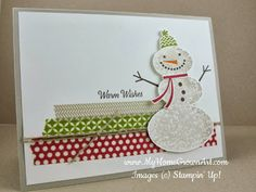 "Snow Day--Stamps: Snow Day, and Remembering Christmas (sentiment) Paper: Sahara Sand card stock - 5 1/2"" x 8 1/1"" Whisper White card stock - 4"" x 5 1/4"" Ink: Sahara Sand, Old Olive, Cherry Cobbler, Early Espresso, Pumpkin Pie Tools and Accessories: Season of Style Washi tape Linen Thread Stampin' Dimensionals"