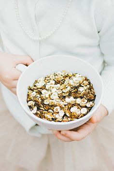 White and Gold Wedding. Flower girl toss giant sequins instead of flower petals Wedding Send Off, Our Wedding, Dream Wedding, Wedding Stuff, Wedding Wishes, Wedding Photos, Flower Petals, Flowers, Wedding Confetti