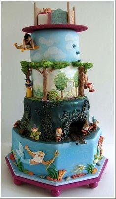 Aladdin, Snow White, and Ariel cake! #Disney