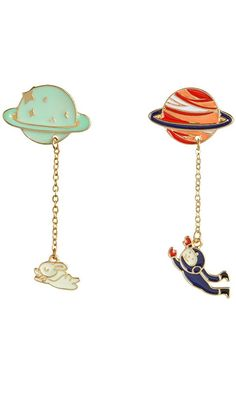 Xumengwu 2 Style Galaxy Saturn Planet Astronaut Rabbit Brooch Pins With Chain Lovers Unisex Jewelry Best Price