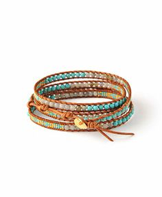 Chan Luu Turquoise Labrodite and Seed Bead Station Wrap Bracelet