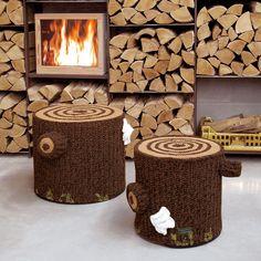 Pouf Bosque de algodón 100% con diseño basado en la tala de un tronco de arbol